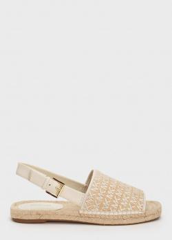 Бежевые сандалии Michael Kors на плетенной подошве, фото