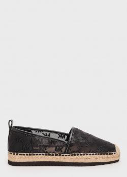 Черные эспадрильи Michael Kors с брендовой вышивкой, фото