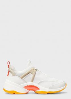 Белые кроссовки Michael Kors на толстой подошве, фото