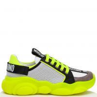 Черно-зеленые кроссовки Moschino с сетчатыми вставками, фото