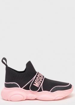 Текстильные черные кроссовки Love Moschino с розовыми вставками, фото