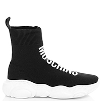 Высокие кроссовки-чулки Moschino с брендовой надписью, фото