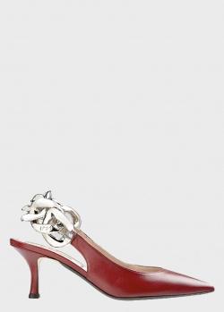 Туфли-слингбеки N21 красного цвета, фото