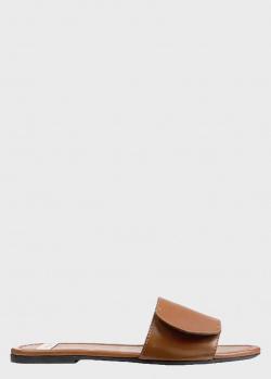 Кожаные шлепанцы N21 с золотистым логотипом, фото