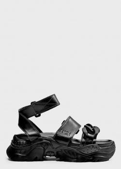 Черные сандалии N21 на массивной подошве, фото