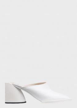 Белые мюли N21 на объемном каблуке, фото
