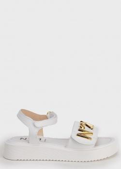 Белые сандалии N21 с золотистым лого, фото