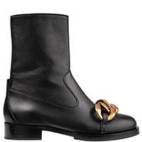 Черные ботинки N21 с массивной цепочкой, фото