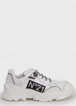 Белые кроссовки N21 с черным лого, фото