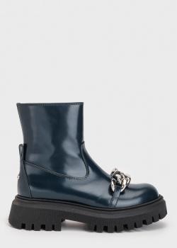 Темно-зеленые ботинки N21 из гладкой кожи, фото