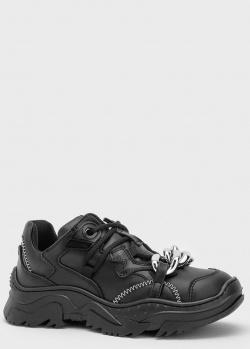 Кожаные кроссовки N21 с декором-цепью, фото