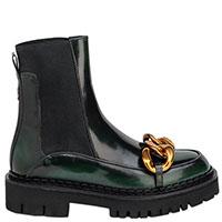 Темно-зеленые ботинки N21 с эластичной вставкой, фото