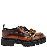 Коричневые туфли N21 с золотистым декором, фото
