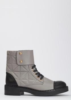 Кожаные ботинки Helena Soretti серого цвета, фото