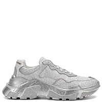 Серебристые кроссовки Philipp Plein на толстой подошве, фото
