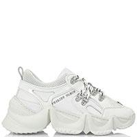 Белые кроссовки Philipp Plein с лаковыми вставками, фото