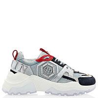 Джинсовые кроссовки Philipp Plein с логотипом из камней, фото