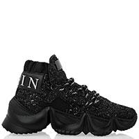 Черные кроссовки Philipp Plein с глиттерными блестками, фото