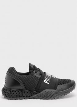 Черные кроссовки Philipp Plein с брендовой надписью, фото