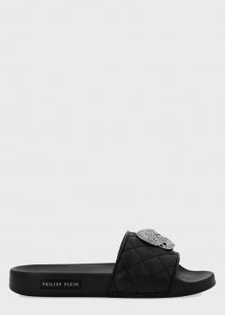 Шлепанцы Philipp Plein Skull с декором из кристаллов, фото