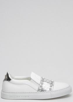 Белые слипоны Philipp Plein с брендовым декором, фото