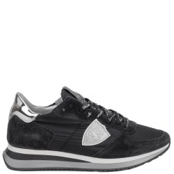 Черные кроссовки Philippe Model на брендовой шнуровке, фото