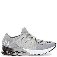 Серые кроссовки Philipp Plein X-Runner с фирменной тесьмой, фото