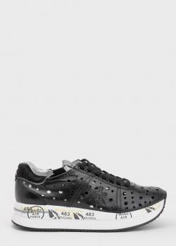 Черные кроссовки Premiata из кожи с перфорацией, фото