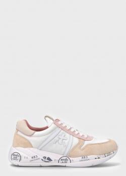 Бежевые кроссовки Premiata Layla с текстильными вставками, фото
