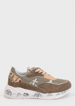 Коричневые кроссовки Premiata с принтом на подошве, фото