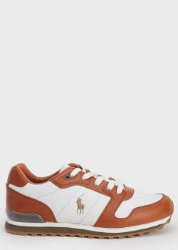 Белые кроссовки Polo Ralph Lauren с коричневыми вставками, фото