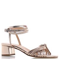 Золотистые босоножки Rebecca Minkoff на устойчивом каблуке с длинным ремешком, фото