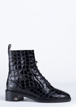Ботинки Rochas в черном цвете с тиснением, фото
