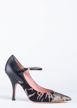 Черные туфли Rochas на шпильке с ремешком, фото