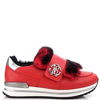 Кроссовки Roberto Cavalli красного цвета на толстой подошве, фото