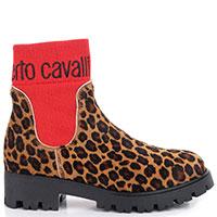 Высокие ботинки Roberto Cavalli с леопардовым принтом, фото