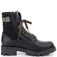 Черные высокие ботинки Roberto Cavalli с брендовым декором, фото
