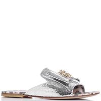 Серебристые шлепанцы Roberto Cavalli с декором-бантом, фото