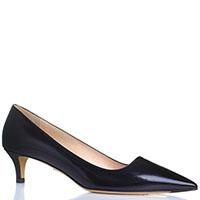 Черные туфли с острым носочком Mascia Mandolesi из лаковой тисненной кожи, фото