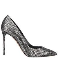 Серебристые туфли Casadei на высокой шпильке, фото