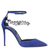Замшевые туфли Casadei с крупными стразами на ремешке, фото