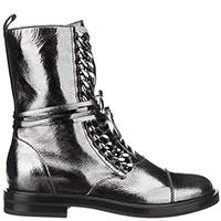 Серебристые ботинки Casadei на шнуровке, фото