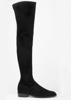 Замшевые ботфорты Stuart Weitzman черного цвета, фото