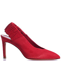 Туфли-слингбеки Santoni из красной замши, фото