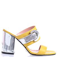Мюли Pollini желтого цвета с декоративной застежкой, фото