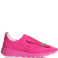 Розовые кроссовки Sergio Rossi из кожи и текстиля, фото