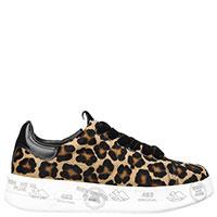 Леопардовые кеды Premiata на толстой подошве, фото