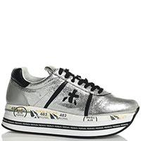 Серебристые кроссовки Premiata Beth на платформе, фото