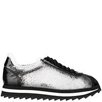 Серебристые кроссовки Doucal's с рифленой подошвой, фото