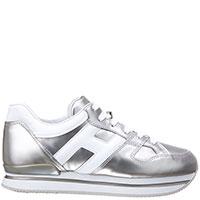 Золотистые кроссовки Hogan на белой подошве, фото